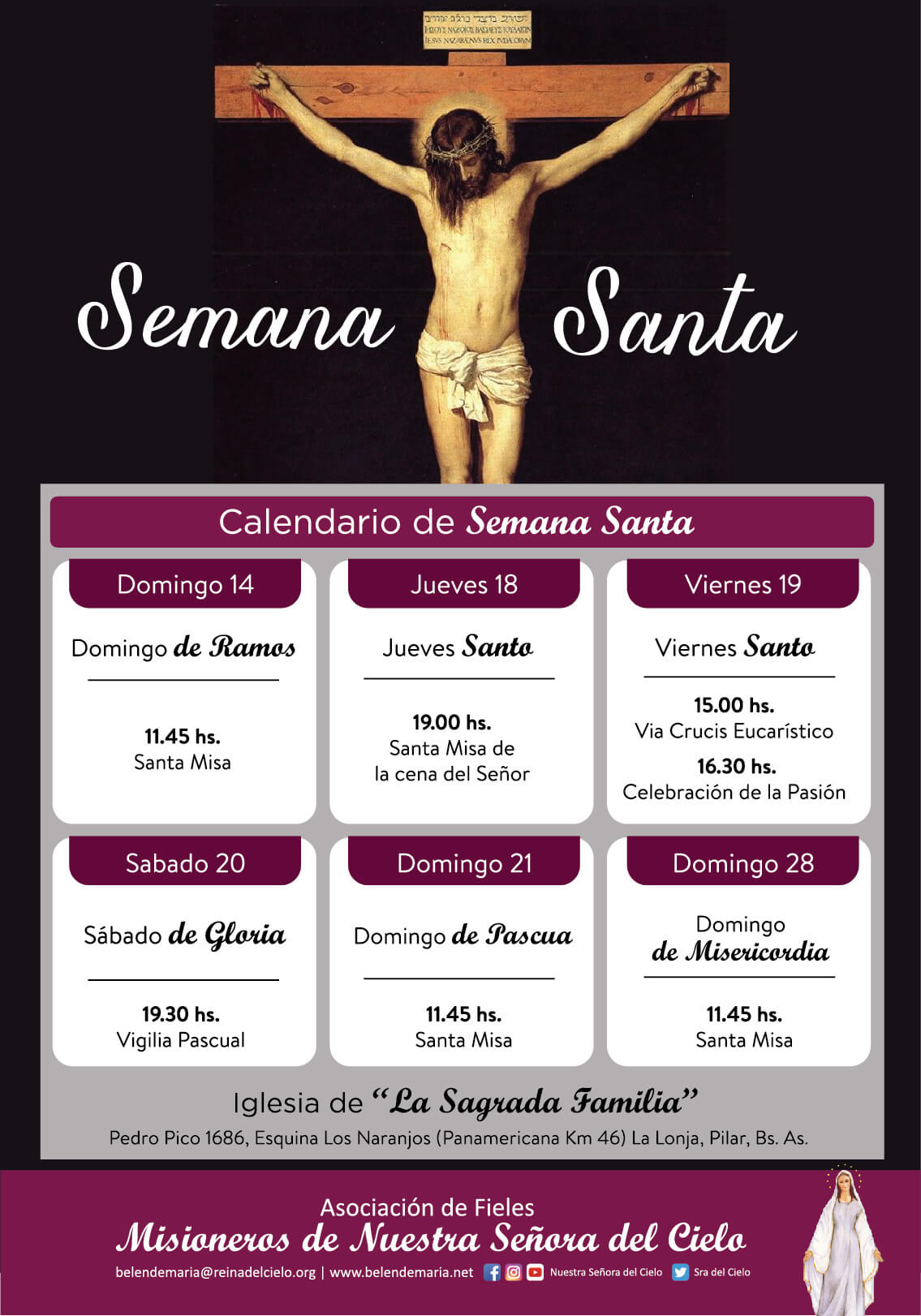 "Semana Santa en la Iglesia ""La Sagrada Familia"" ⛪ nuestra sede en Pilar ✝"