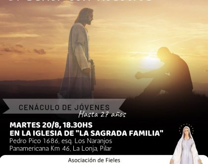 CENÁCULO DE JÓVENES EN PILAR – Agosto 2019